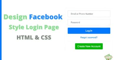 Design Facebook Style Login Page in HTML and CSS